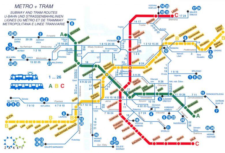 Prag metro ve tramvay hattı haritası